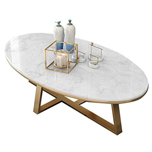 Daily Equipment Muebles de mesa para sala de estar Mesas de café ovaladas de mármol de 80 cm / 100 cm para sala de estar Blanco l Mesa auxiliar moderna para sala de estar en casa Muebles para