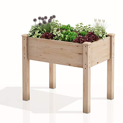 """AMZFINE Heavy Duty Wooden Raised Garden Bed Kit, Solid Wood Elevated Planter Box -34"""" L x 18"""" W x 30"""" H, Natural"""
