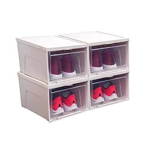 MFWallMirror Zapatero Caja de Zapatos, Organizador de Caja de Almacenamiento de Zapatos apilable, para Damas y Hombres, Cubierta Deslizante, fácil de Abrir y Cerrar, Blanco/Caqui