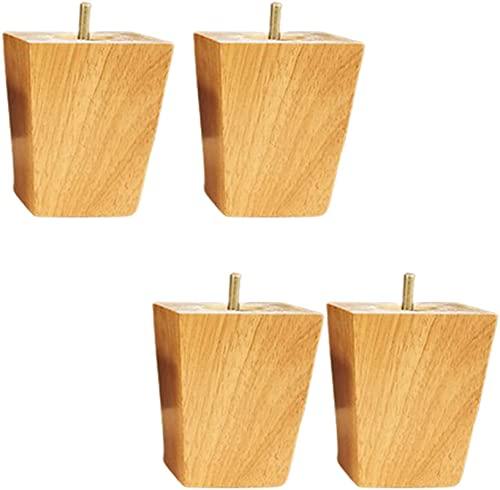 Piernas de muebles de madera maciza 4x, patas de sofá cuadradas de roble, patas de repuesto de mesa de bricolaje, pierna de mesa de café, pierna de gabinete de TV, con tornillo M8, para mesa de café,