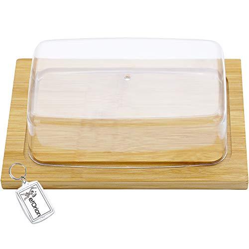 Quesera Rectangular con Tapa de Plastico – Mantequera Madera de Bambú – Ideal para Conservar Frescos tus Quesos y Mantequilla- Dimensiones 20 X 13 X 7.5 cm
