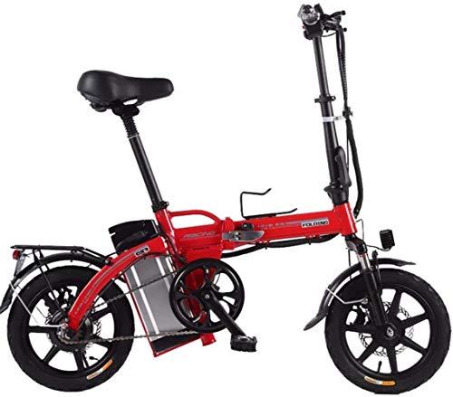 Woodtree Bicicleta eléctrica, Bicicleta eléctrica Plegable - Velocidad de Ajuste de Velocidad 3, a 30 km/ho Menos, fácilmente añadidos a la Violeta Tronco -, Color: Morado (Color : Red, Size : 23ah)