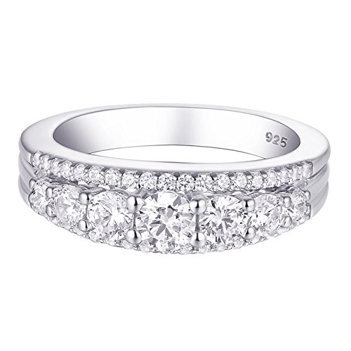 Newshe 1.13ct Round White AAA Cz 925 Sterling Silver Wedding Band Eternity Ring Size 10 (Platinum D-shape Wedding Ring)