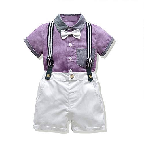 Moyikiss Studio Baby Boys Gentleman Outfit Suits, Infant Boys Short Pants Set, Short Sleeve Shirt+Suspender Pants+Bow Tie (Purple, 90/18-24Months)