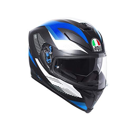AGV, Casco Moto Integrale K-5 S E2205 Multi Plk uomo, Nero Marble Matt/Bianco/Blue, XL