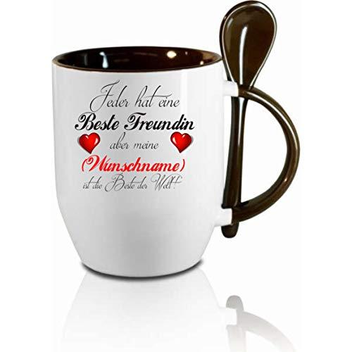 Crealuxe Tasse m. Löffel Jeder hat eine Beste Freundin Aber Meine ist die Beste Wunschname Löffeltasse, Kaffeetasse m. Motiv,Bürotasse, Bedruckte Tasse mit Sprüchen oder Bildern -