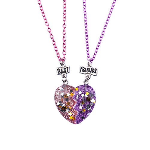 Skywisewin Half Heart Necklaces for Kids, Questa Collana BFF è Una Confezione da 2 Bambini (Half Heart Necklaces)