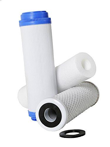 Pack 3 Filtros Ósmosis Inversa, Filtro Ósmosis 3 etapas, Estándar, Profesional, Garantizado, Compatible con Todos los Sistemas de ósmosis con Vasos del Mercado