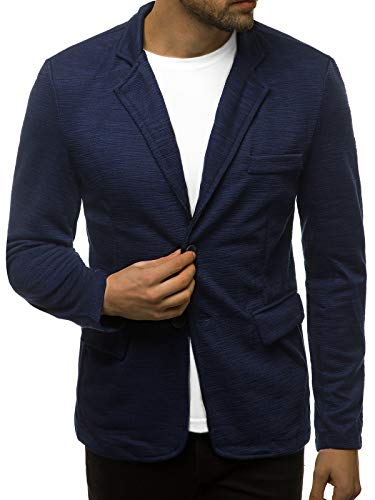 OZONEE Herren Sakko Jackett Anzugjacke Blazer Anzug Jacke Smoking Slim Fit Business Sportlich Sport Langarm Casual Klassisch Classic Modern O/7301Z DUNKELBLAU S