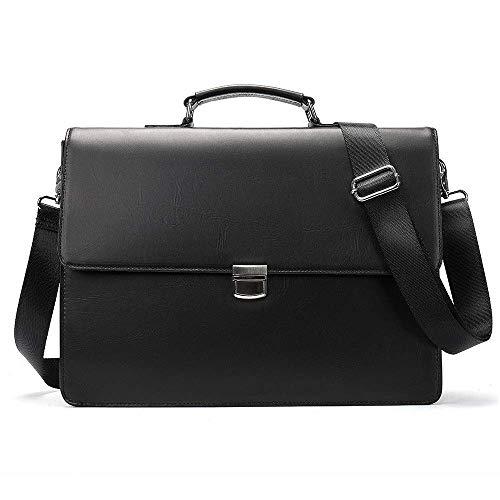 Dirgee Negocio Moda Hombre portátil maletín Simple Piel Grande Capacidad Solo Hombro Mensajero Bolsa generación Cartero Paquete Casual Vintage Estilo (Color : Black, Size : 38.5x26.5x13cm)