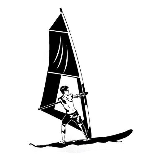 13,2 cm x 17,9 cm moda windsurf vela deportes acuáticos vinilo pegatinas silueta decoración S9-1089 (nombre del color: negro)