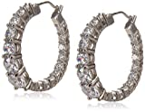 "Platinum Plated Sterling Silver Hoop Earrings set with Graduated Swarovski Zirconia (3.76 cttw), 1"" Diameter"