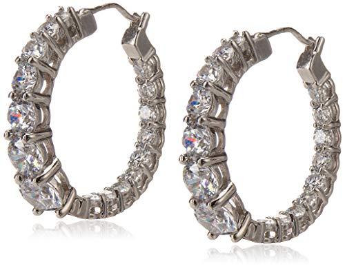 Platinum Plated Sterling Silver Hoop Earrings set with Graduated Swarovski Zirconia (3.76 cttw), 1' Diameter