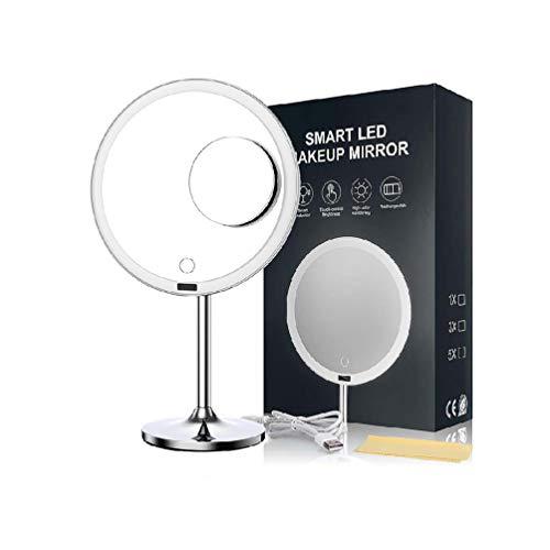 Kosmetikspiegel Mit Led Licht, Einstellbare Helligkeit MIT Touch Screen, Schminkspiegel Mit Led Beleuchtung, USB Wiederaufladbar, Automatisches An-/Ausschalten des Sensors, 360 Drehung