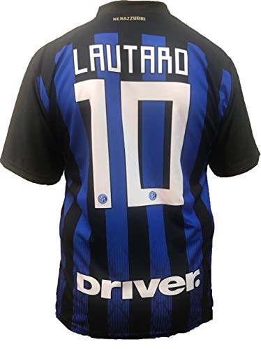 Camiseta Jersey Futbol Inter F.C Lautaro Martinez Replica Oficial Autorizado 2018-2019 Niños (2,4,6,8,10,12 año) Adultos (Small, Medium, Large, Xlarge) (Small)