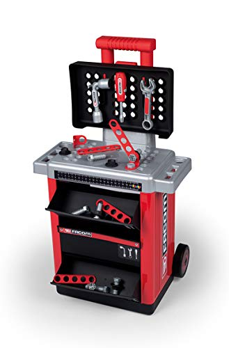 Smoby Facom 360218 DIY Tool Kit with Mechanical Drill and Many Accessories Red
