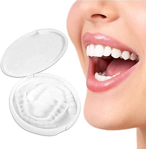 HCHQ Cosméticos Dientes Temporales simulación de Silicona Arriba y Abajo Presionarse Dentadura Dentaduras Postizas Reales Reutilizable