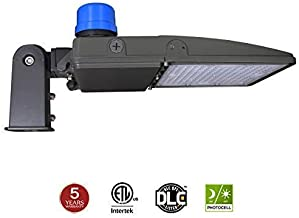 LED Parking Lot Light with Photocell, 300W (1000W Equiv.) LED Shoebox Lights, Slip Fit Mount, Dusk to Dawn Street Pole Light, 5000K 39000LM 100-277V IP65 ETL DLC Listed 5-Year Warranty by Kadision