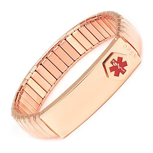 YINOX Pulsera de Alerta médica de Oro Rosa para Hombres o Mujeres con sección de elevación de 19 cm