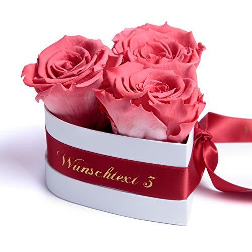 ROSEMARIE SCHULZ Heidelberg Rosenbox Herzform 3 konservierte Rosen in Box haltbar (Korall, Wunschtext)