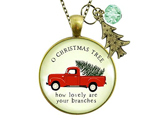 """Gutsy Goodness 24"""" Red Truck Christmas Theme Necklace Vintage Holiday Jewelry Gift"""