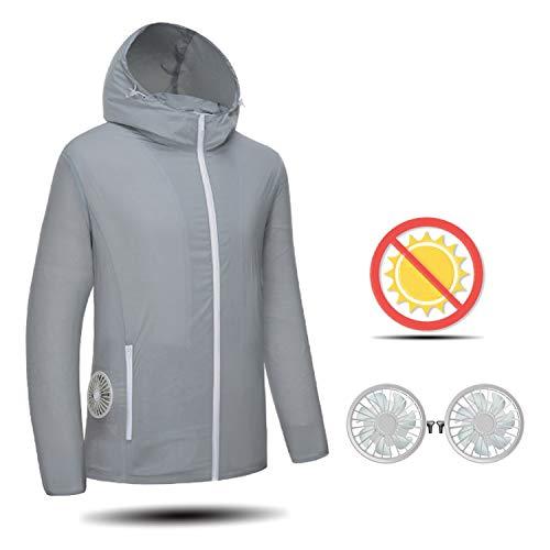 GXLX Intelligent UV Sonnenschutz Clothes Klimaanlage Kleider Ventilatoren Kapuzenpullove USB-Aufladung Atmungsaktiv Jacke,M