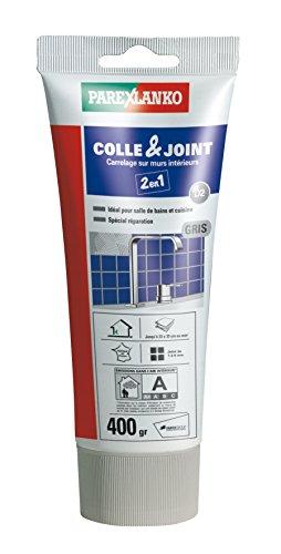 Parexlanko, Colle & Joint 2 en 1, Pâte pour collage de carrelage et réalisation de joints hydrofugés prêt à lemploi pour pièces humides, Gris, 400g