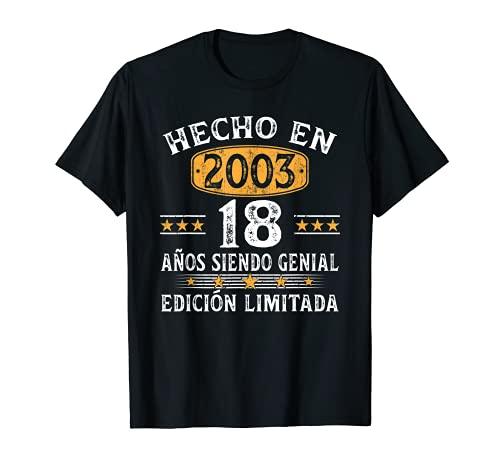 18 Años Cumpleaños Regalo Para Hombre Mujer Hecho En 2003 Camiseta