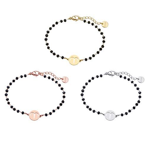JinHan 3 pulseras con colgante de Aries ajustables, de moda, para hombres y mujeres, material antialérgico, se puede utilizar como regalo de cumpleaños para niños o niñas. Oro/plata/oro rosa