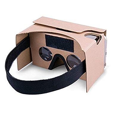 Google Cardboard,VR Headsets 3D Box Virtual Reality Glasses with Big Clear 3D Optical Lens and Comfortable Head Strap for All 3-6 Inch Smartphones (Yellow, 1 Pack) …