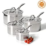 ProCook Professional Steel - Set 4 Casseroles INOX Compatibles Induction - Couvercle...