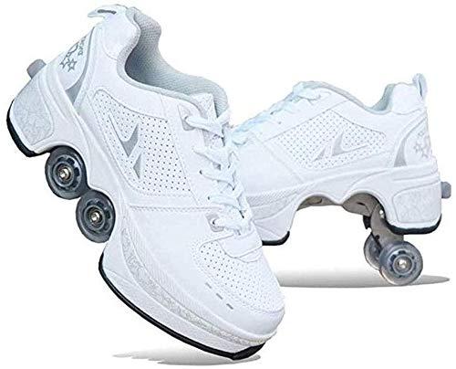 Patín En Línea, Zapatos Multiusos 2 En 1, Botas De Patín De Cuatro Ruedas Ajustables, Zapatos Deformación Multifuncionales Patines Cuatro Ruedas Patines Patinaje Al Aire Libre Para Adultos,White-41