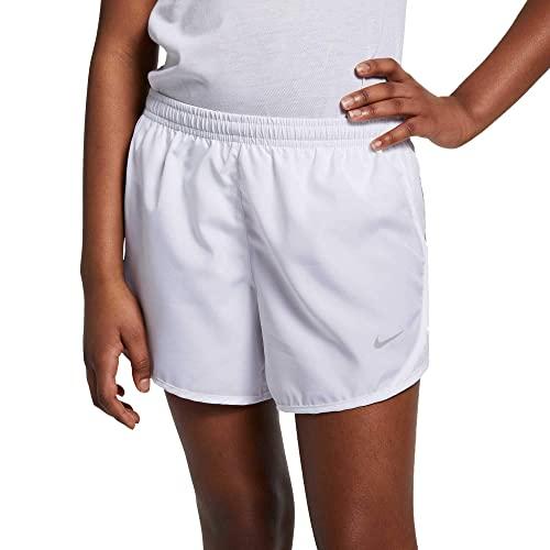 Nike Girl's Dry Tempo Running Shorts (White, Small)