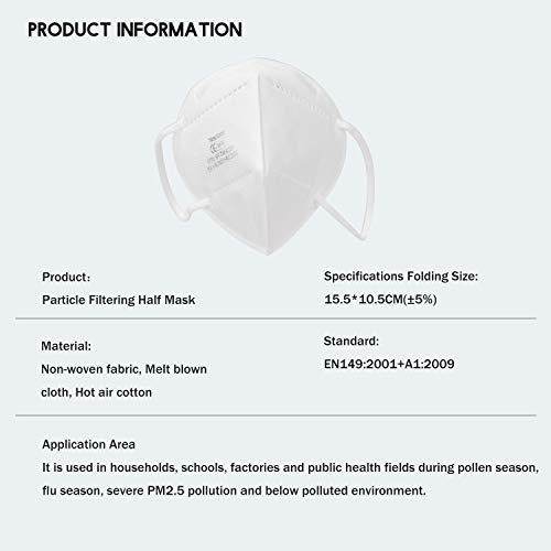 10X FFP2 Atemschutzmaske, Konformität mit EN 149:2001 + A1:2009, Maske mit mehrschichtigem Filtersystem, freier und bequemer Atem - 6