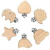 ARTLATU 6 Stück Holzklammern Schnuller Tierherz,Schnuller Clip, Baby Schnullerclips, Holz Schnullerketten Clips,Nuckelclip Dummy Nippel Halter für Schmerzlinderung Spielzeug Zubehör zu machen