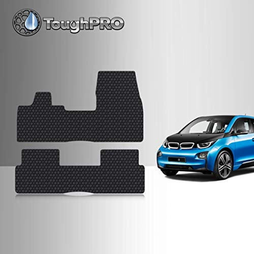 TOUGHPRO Floor Mat Accessories Set Compatible with BMW i3 - All Weather - Heavy Duty - (Made in USA) - Black Rubber - 2014, 2015, 2016, 2017, 2018, 2019, 2020 (Front Row + 2nd Row)