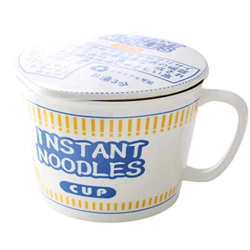 Kyydod Tazón de fideos instantáneos japoneses de 800 ml con mango de tapa resistente al calor horno sopa tazón de desayuno taza leche y cereales
