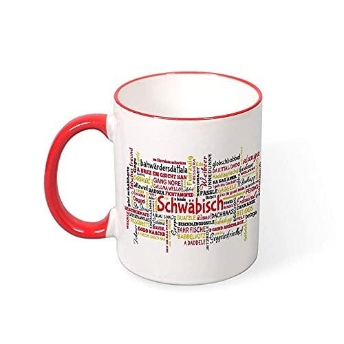 N\A Taza - Taza Divertida Taza de Suabia Taza de Color Rojo Vino Tagcloud con Palabras típicas en el dialecto de Suabia Taza de café Divertida de 11 oz
