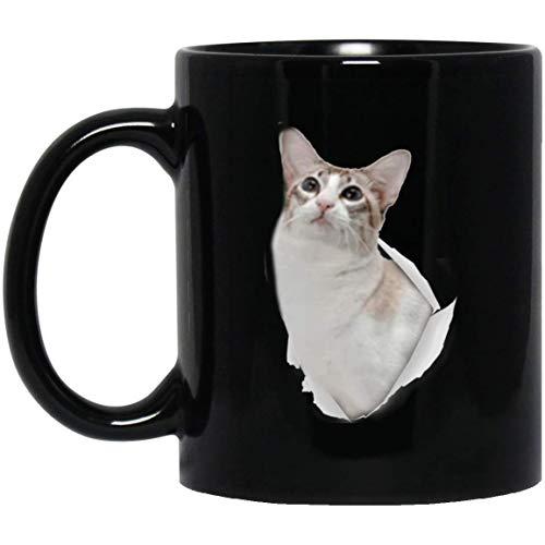 N\A Divertida Taza de Gato javanés para Hombres, Mujeres, Amantes de los Gatos, Taza de café, Color Negro, 11 oz
