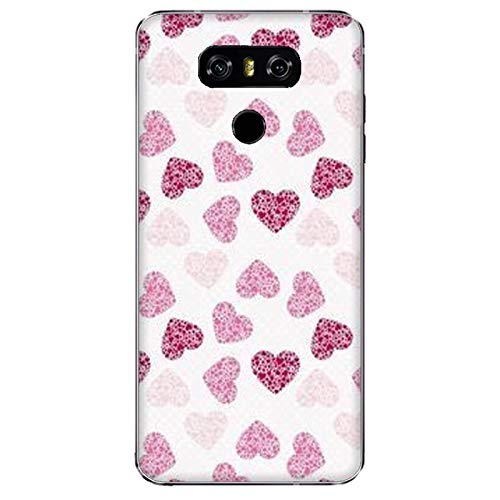 Funda G6 Carcasa Compatible con LG G6 Fondo del corazón Morado con Fondo Blanco/Imprimir también en los Lados. / Teléfono Hard Snap en Antideslizante Antideslizante Anti-Rayado Resistente a los g