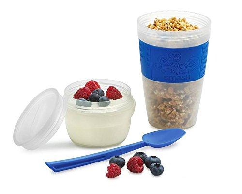 Smash Recipiente de 400 g con Tapa de Polipropileno/Silicona para Mezclar Desayuno, Transparente/Azul