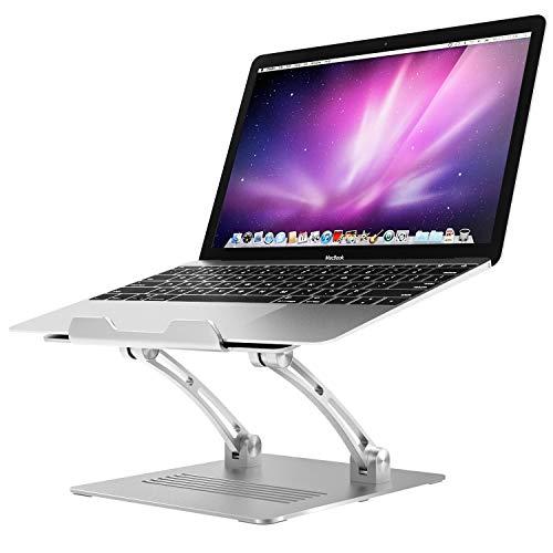 ATiC ノートパソコンスタンド タブレットスタンド ノートパソコンホルダー アルミ製 ラップトップスタンド 折りたたみ式 放熱対策 姿勢調整 卓上ホルダー 耐久性 安定 MacBook Pro/Air,Acer,ASUS,HP,Sony,Dell XPS,Lenovoなど11~17インチノートパソコンに適用 Silver