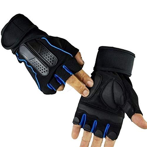 YANODA Body Gym Formation Bâtiment Sport Haltérophilie Gants for Hommes Et Femmes Fitness Exercice Moitié Gants Doigts Protect Hands (Color : Dark Blue, Size : L)