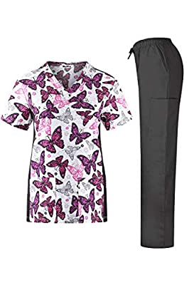MedPro Women's Stretch Printed Medical Scrub Set V Neck Top and Cargo Pants Pink Gray Butterfly L