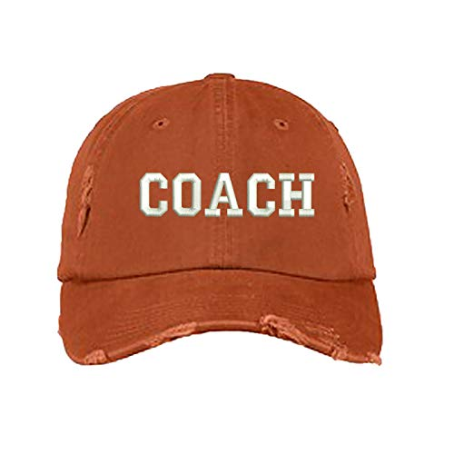 Coach Distressed Baseball Cap - Unisex Dad Hat (Orange)
