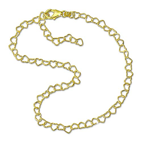 GoldDream Fußkette Herzchen 333 Gold 25cm 8 Karat Damen Echtschmuck GDF0015Y