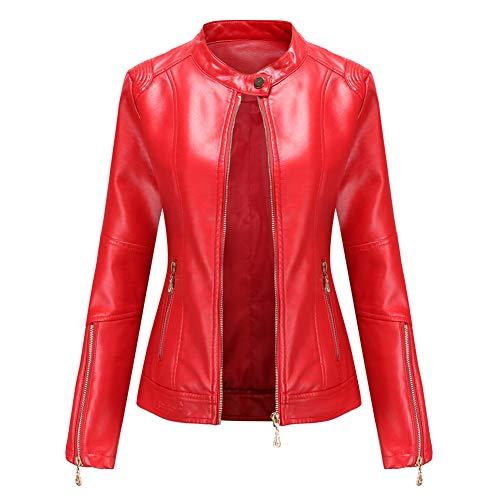Damen Kunstleder Jacke Leather Jackets Motorradjacke Bikerjacke PU Lederjacke Outwear Kurz Damenjacke Kurze Jacke für Frühling Herbst (4 Farben),3-Red,S
