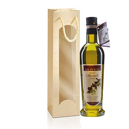 Olivenöl Geschenk Set | Griechisches Olivenöl | Kaltgepresst Koroneiki | Geschenktüte mit Sichtfenster | Oregano | Weihnachtsgeschenk | Ostergeschenk | Geburtstagsgeschenk | Muttertagsgeschenk | ARISTOS
