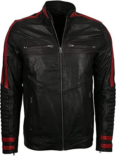 Chaqueta de cuero para hombre, color negro y rojo, ajuste delgado, para motociclista, estilo vintage, para motocicleta, Cafe Racer - negro - Small