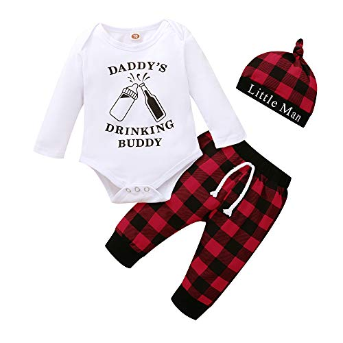 Newborn Baby 1st Christmas Outfit Infant Boy Christmas Onesies Daddy's Drinking Buddy Romper Plaid Pant Set 0-3 Months